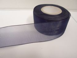 Navy dark Blue Sheer organza ribbon, 2, 10 or 25 metre roll, Double sided 3mm 9mm 15mm 25mm 40mm
